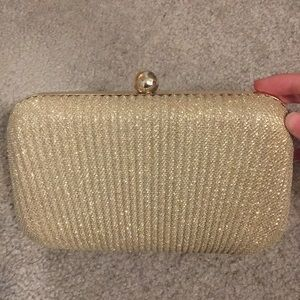 Sparkly gold clutch (turns into crossbody)